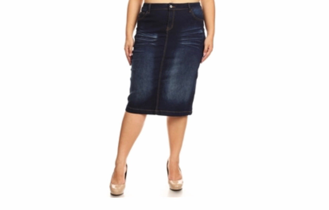Plus Dark Indigo Denim Skirt - MODESTALINDA