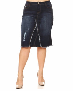 Plus Dark Denim Skirt - MODESTALINDA