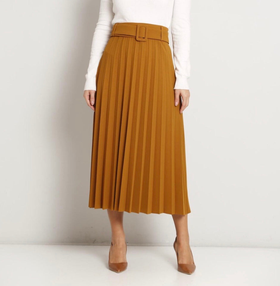 Mustard pleated skirt - MODESTALINDA