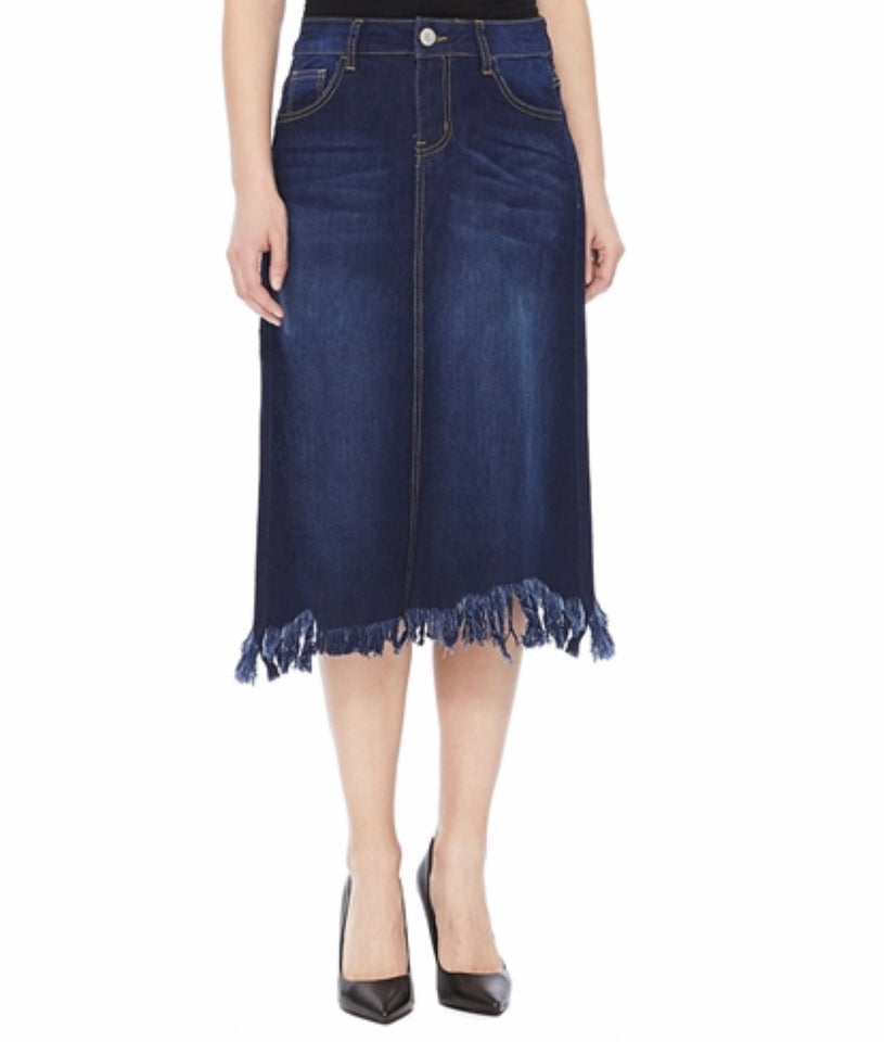 Dark Indigo Wash Calf Length Skirt - MODESTALINDA