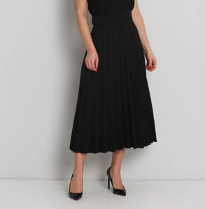 Midi Pleated Skirt with Belt - MODESTALINDA