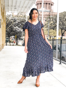 Maxi navy blue floral dress - MODESTALINDA