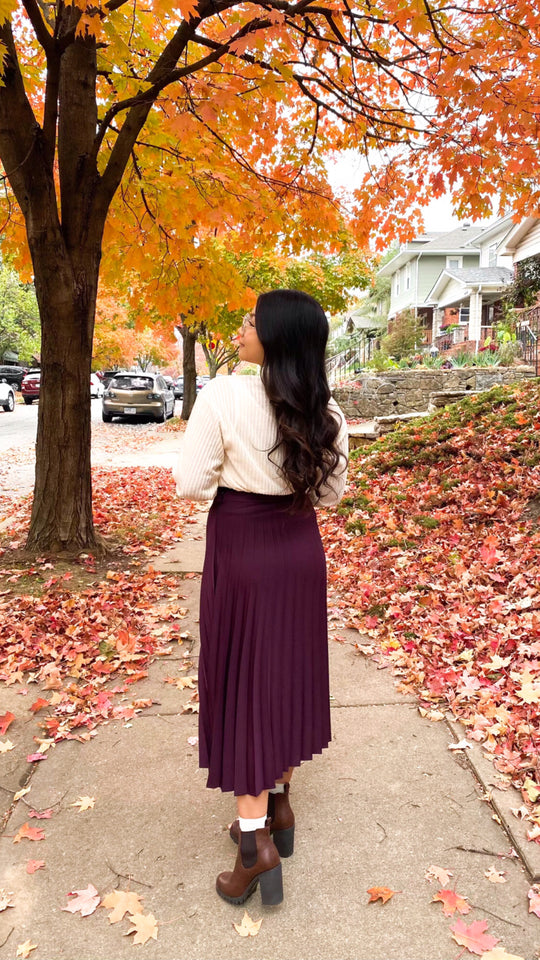 Burgundy Pleated Skirt
