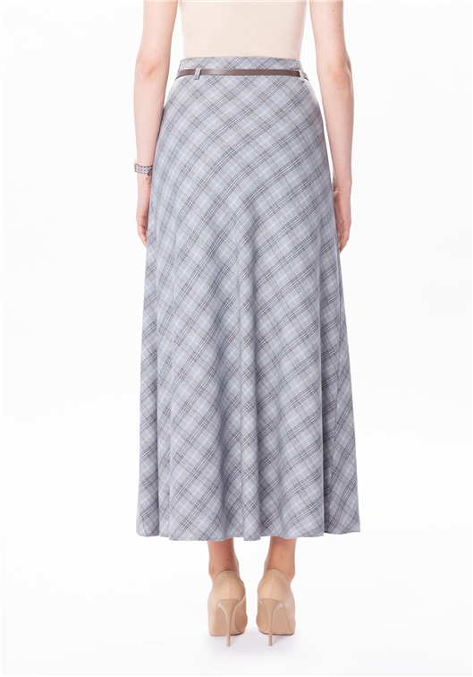 Long Plaid Skirt with belt - MODESTALINDA