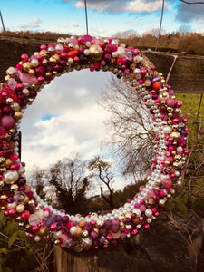 Pink and Gold Round Treasure Mirror