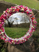 Load image into Gallery viewer, Pink and Gold Round Treasure Mirror