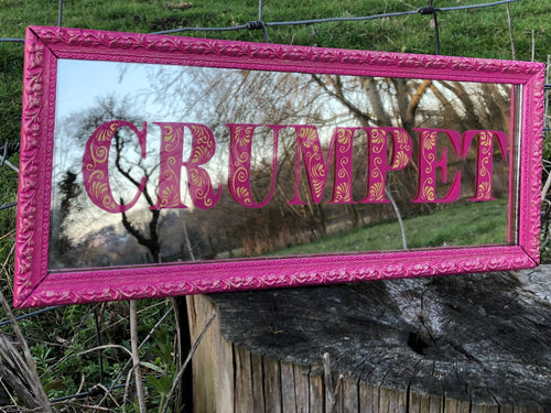 Hand Painted Mirror, Reverse Painted and Gilded with Gold Leaf, Crumpet in Decorative Lettering Pink and Gold