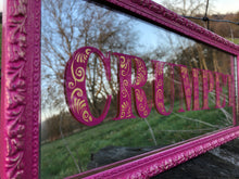 Load image into Gallery viewer, Hand Painted Mirror, Reverse Painted and Gilded with Gold Leaf, Crumpet in Decorative Lettering Pink and Gold