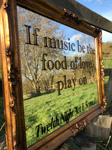 Antique French Gilt Framed Shakespeare Quote Mirror
