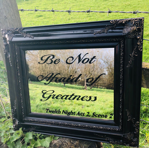 Shakespeare Quote Hand Lettered Mirror, Decorative Painted Mirror in Black and Gold Painted Vintage Frame, Custom Bar Mirror