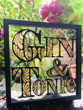 Load image into Gallery viewer, Hand Painted Gin and Tonic Mirror Painted in Black and gilded with 23dt gold leaf, Gin Mirror, Bar Mirror, Cafe and Bar Interior, reverse painted gilded gin mirror