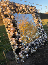 Load image into Gallery viewer, Treasure Mirror Made up in Monochrome Colours with Lots of Pearls and Silver Unique Mirror Frame Re-Purposed Costume Jewellery