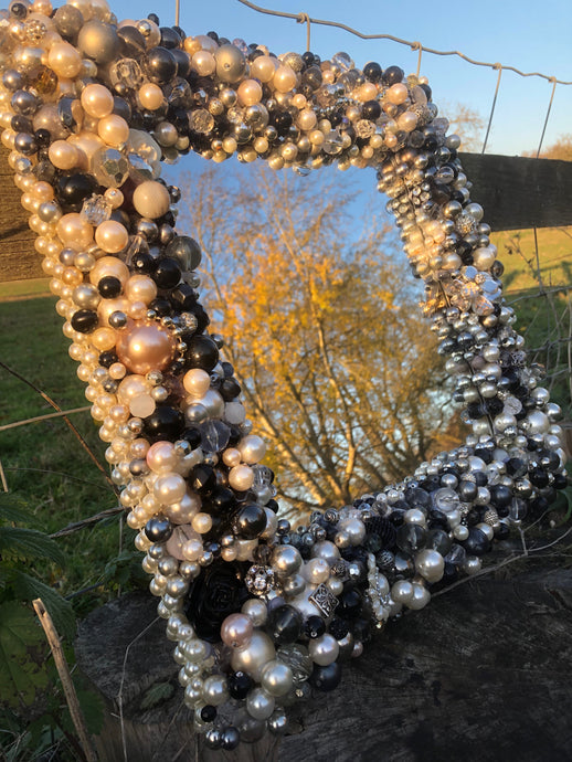 Treasure Mirror Made up in Monochrome Colours with Lots of Pearls and Silver Unique Mirror Frame Re-Purposed Costume Jewellery