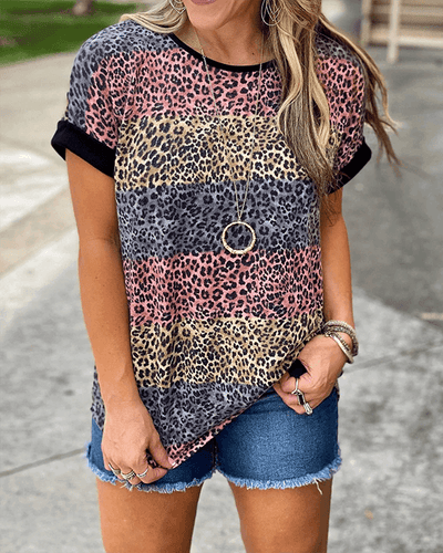 Melesy Multi Stripe Leopard Print Top