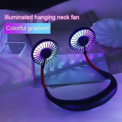Mini Hanging Neck Fan with Colorful Lights