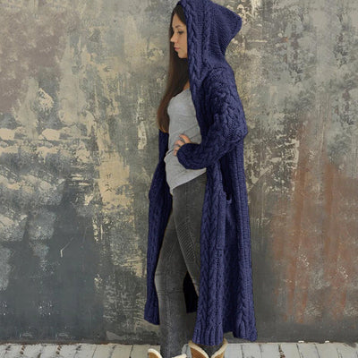 Casual Knitted Long Outerwear with Hood