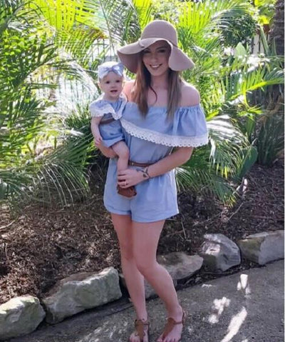 Mother Daughter Lace Jumpsuits 2017 Summer