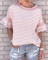 Melesy Pink Striped Ruffle Sleeves T-shirt