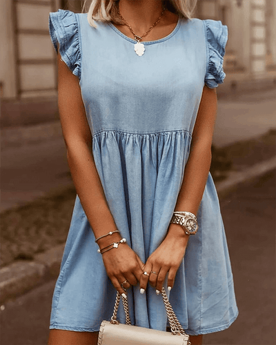 Melesy Ruffle Cuffs Denim Dress