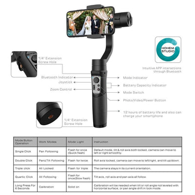 Mobile 3-Axis Handheld Smartphone Gimbal Stabilizer