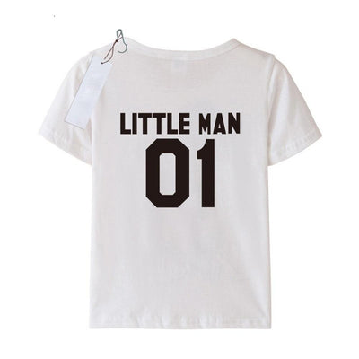Letter Print Short Sleeve Father Son Matching T-Shirt - Big Man and Little Man