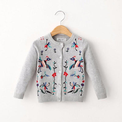 Mother Daughter Matching Embroidery Cardigan