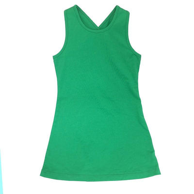 Mother Daughter Summer Sleeveless Green Beach Dress