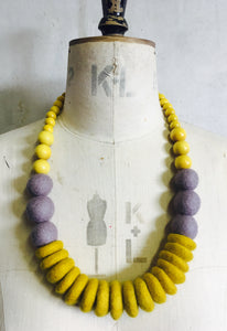 Throw on Merino and Wood Necklace Mustard