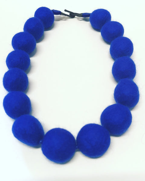 Merino Bead Necklace Cobalt