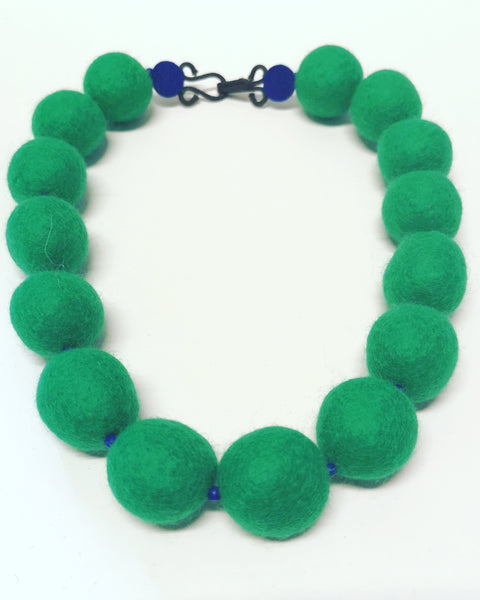 Merino Bead Necklace Emerald