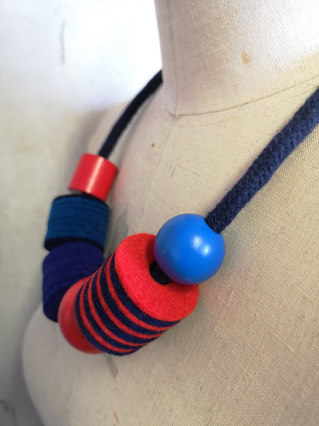 Industrial Felt, Wood and Rope Necklace - Breton