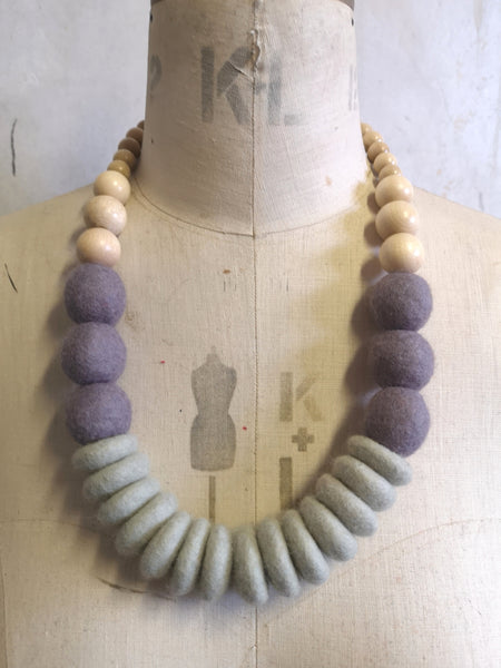 Throw on Merino and Wood Necklace Grey