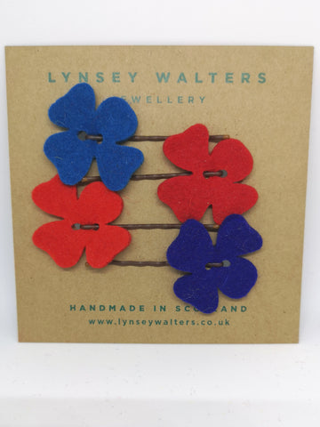 Set of 4 flower hairslides - Bretton