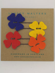 Set of 4 flower hairslides - multi colour