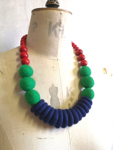 Throw on Merino and Wood Necklace Multi Colour