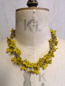 Flower Confetti Necklace Mustard