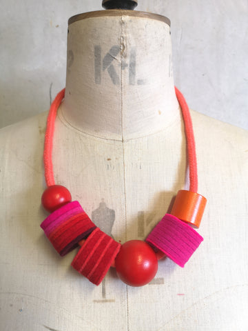 Industrial Felt, Wood and Rope Necklace - Coral