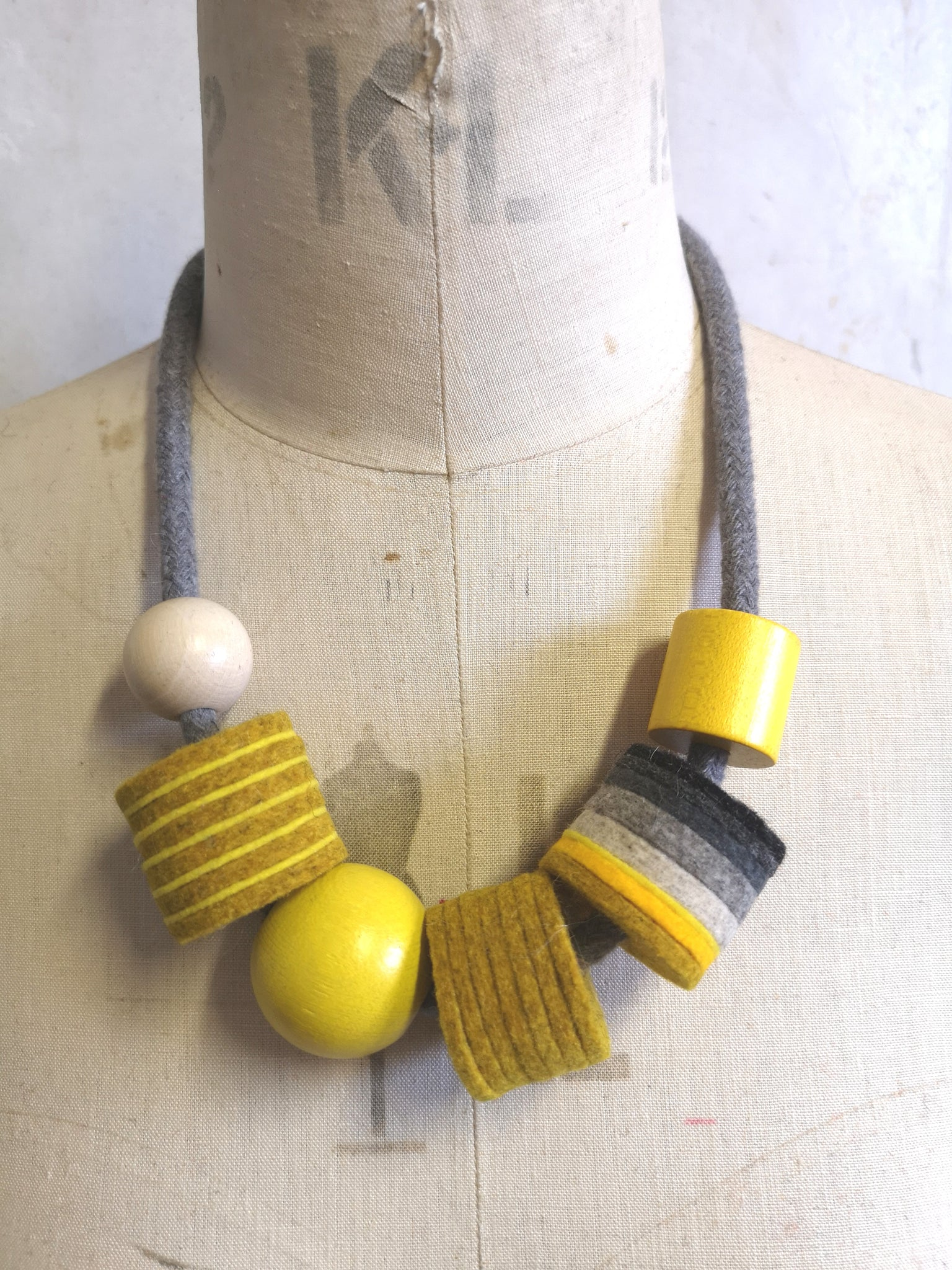 Industrial Felt, Wood and Rope Necklace - Mustard & Grey
