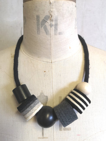 Industrial Felt, Wood and Rope Necklace - Black & White