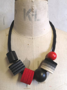 Industrial Felt, Wood and Rope Necklace - Black & White with Red