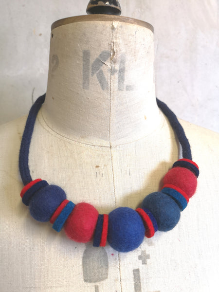 Handmade Merino Beads and Rope Necklace - Bretton
