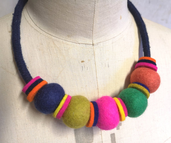 Handmade Merino Beads and Rope Necklace - Multi colour