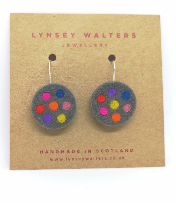 Spotty dot earrings, grey & multi colour