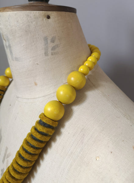 Vertebrae Necklace in Mustard and Grey