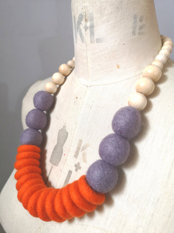 Throw on Merino and Wood Necklace Orange