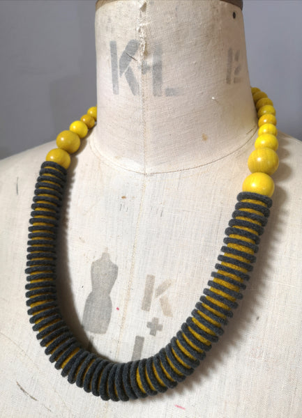 Vertebrae Necklace in Grey and Mustard