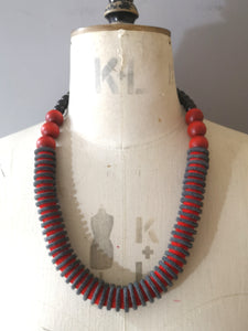 Vertebrae Necklace Grey & Red