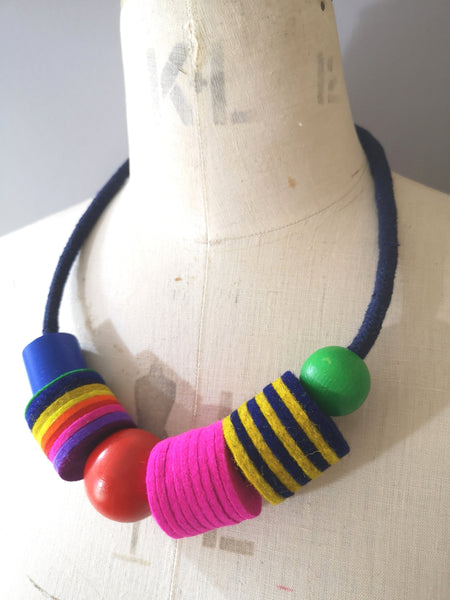 Industrial Felt, Wood and Rope Necklace - Multi Colour