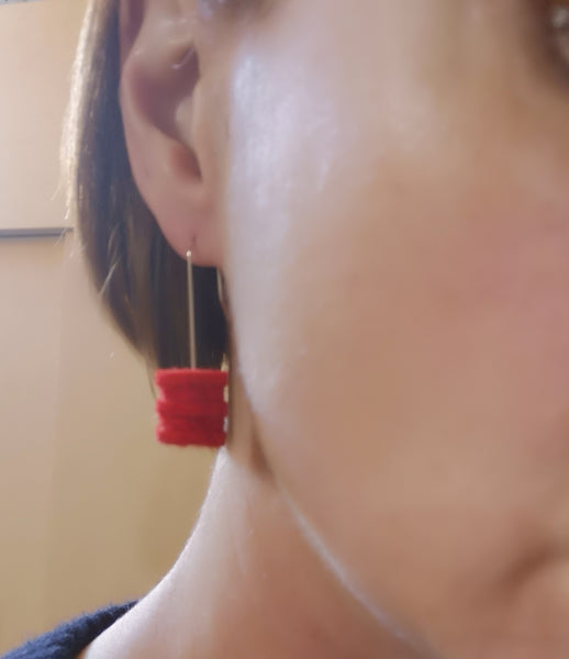 Ombre Earrings, Black, White & Red