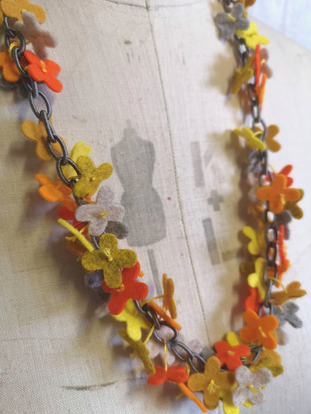 Long flower Confetti Necklace, Orange Mix